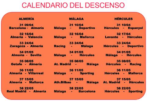 calendario 3 últimos clasificados